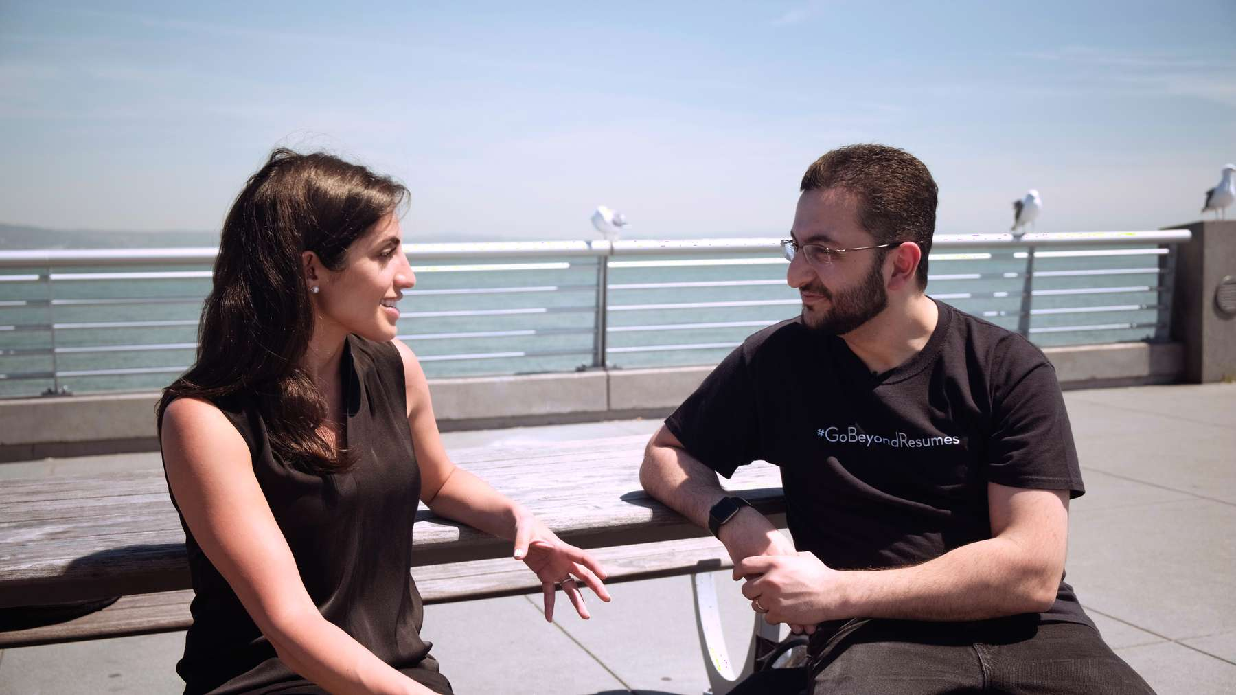 Index Ventures Partner Nina Achadjian (left) with CodeSignal CEO and co-founder Tigran Sloyan (right)