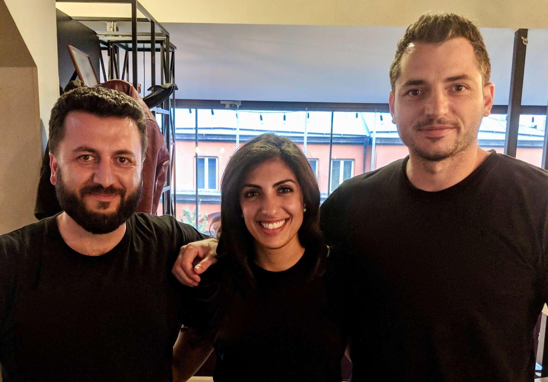 ServiceTitan's co-founders Vahe Kuzoyan and Ara Mahdessian with Index's Nina Achadjian
