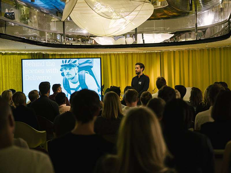 """Index Partner Martin Mignot at Index event """"Behind the Scenes with Deliveroo"""". Index led the Series A investment of £2.7m in Deliveroo back in 2014."""