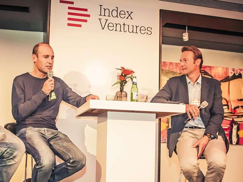 CEO of Adyen Pieter van der Does and Index Ventures Partner Jan Hammer at an event in Amsterdam