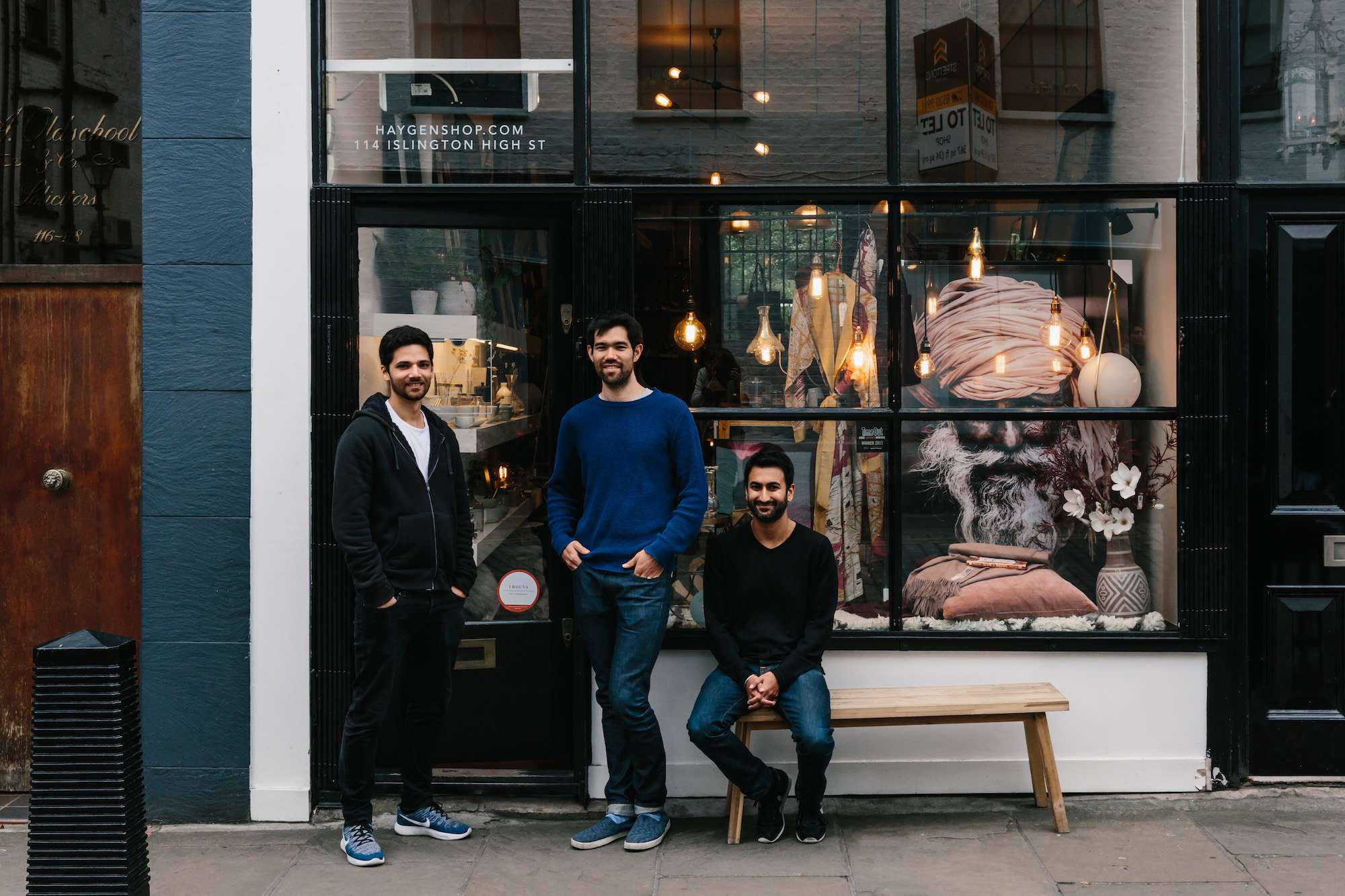 Trouva founders Alex Loizou, Glen Walker and Mandeep Singh